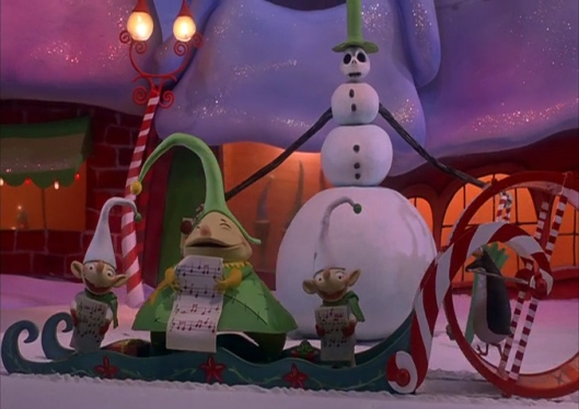 """""""Does that snowman look different to you guys?"""" """"I'd look if my eyes weren't permanently shut from happiness. Now keep singing!"""""""