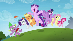 Main_cast_and_Starlight_Glimmer_jump_in_happiness_S5E26