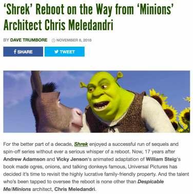 shrek reboot news
